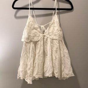 FREE PEOPLE WHITE FRAYED TOP